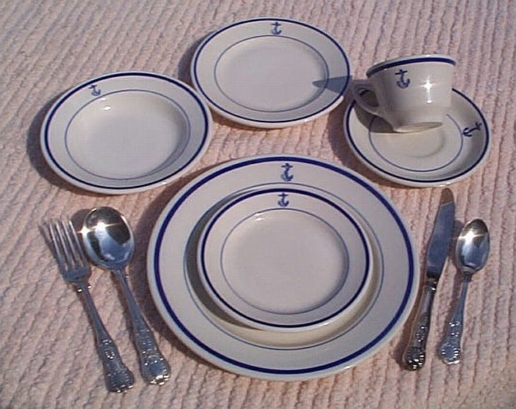 10 Piece Placesetting US Navy Wardroom Officers Mess China and Silverware