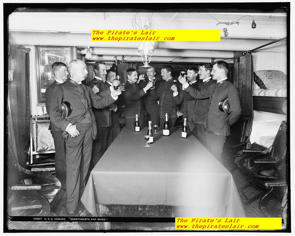 USS Newark Ca 1891-1901 Officers Wardroom Offering Toast to Wives and Sweethearts #008