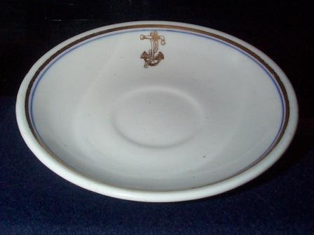 Antique US Navy Demitasse Saucer with Golden Fouled Anchor