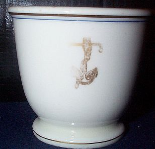 Antique US Navy Egg Cup Cup with Golden Fouled Anchor