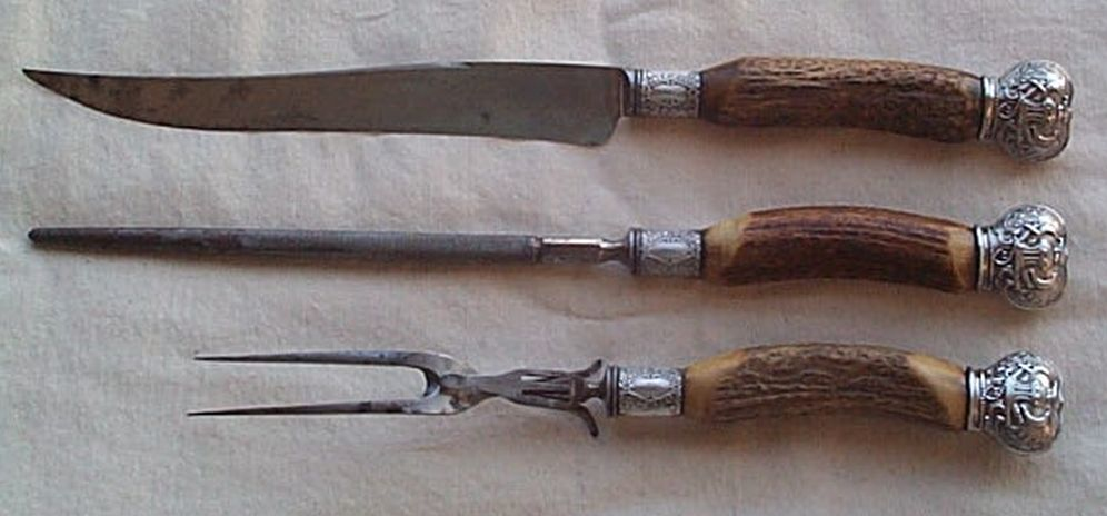 Rare Museum Quality 19th Century Civil War era 1830s-1870s US Navy Cutlery 3 Piece Carving Set