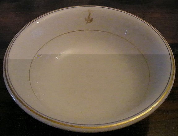 us navy antique serving bowl with gold fouled anchor