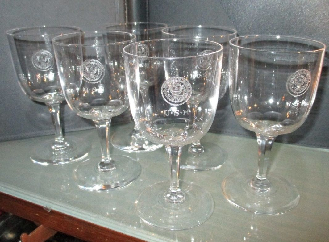 Crystal Port Sherry Wine Glass 1905 Great White Fleet and WWI Era with Department of Navy Seal