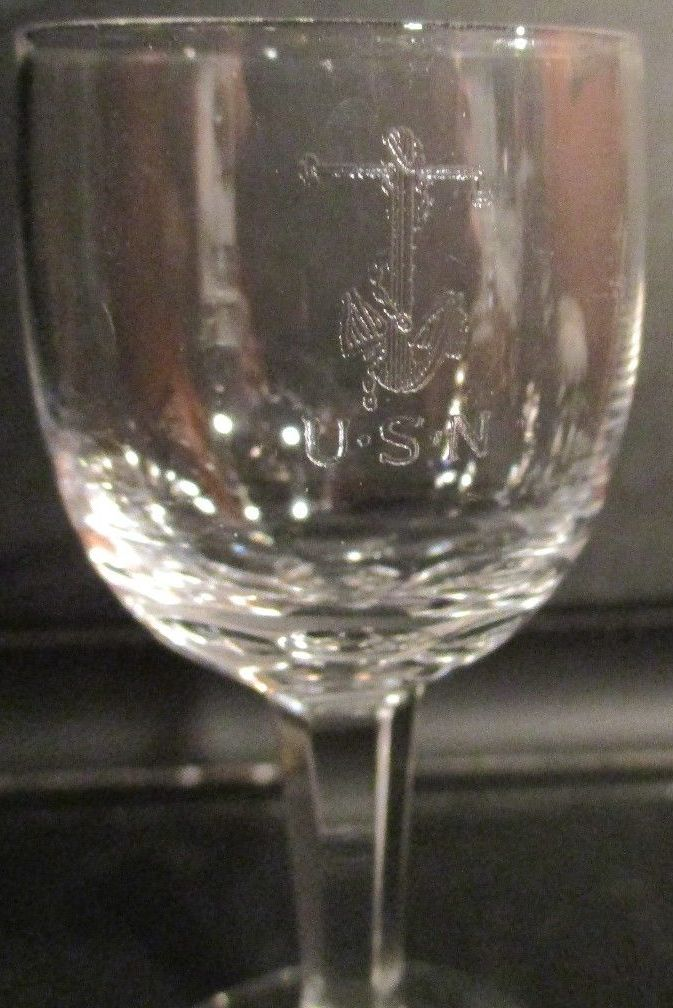 Crystal Shot Glass Fouled Anchor with USN Great White Fleet and WWI Era