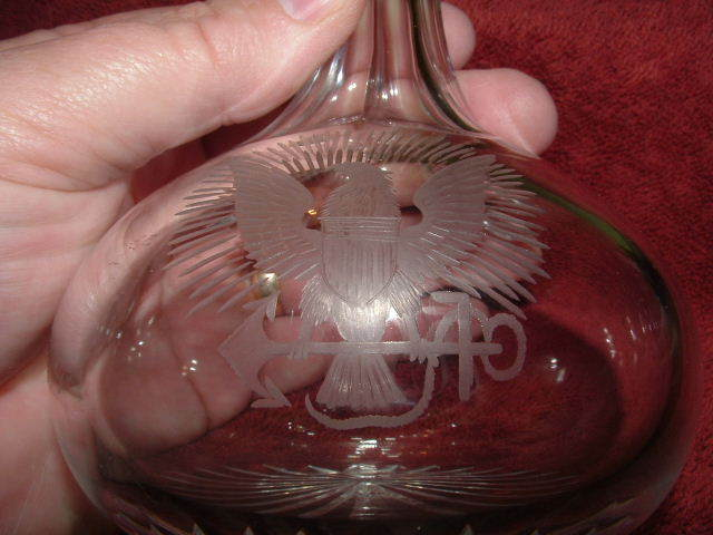 cut crystal liqueur decanter with eagle etching