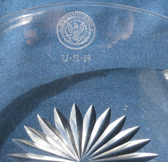 Crystal Bowl Great White Fleet and WWI Era with Department of Navy and USN insignia