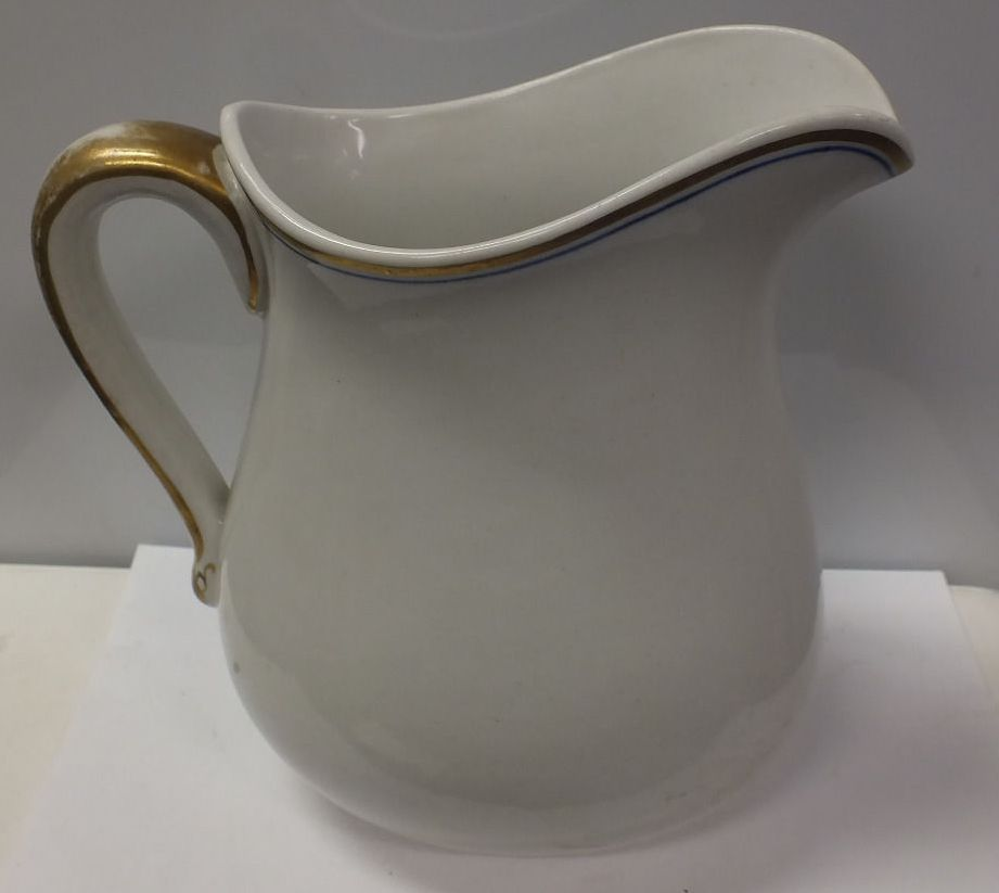 Antique US Dept of the Navy Milk or Cream Pitcher Side View