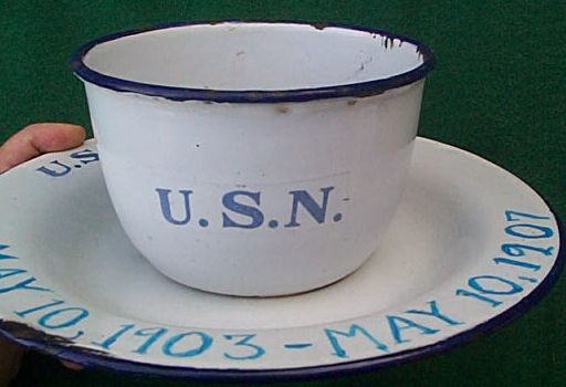 us navy enamelware enlisted cup and plate ca 1898-1910