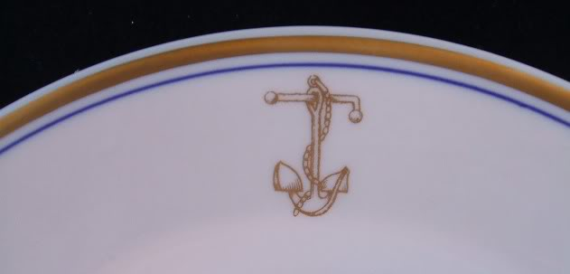 Vintage US Navy Soup Bowl with Gold Fouled Anchor Topmark