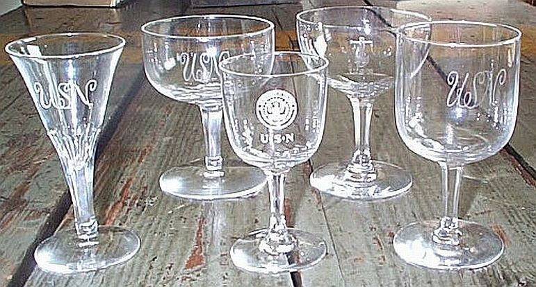 Comparison Crystal Glasses From Span Am War, Great White Fleet and WWI Eras