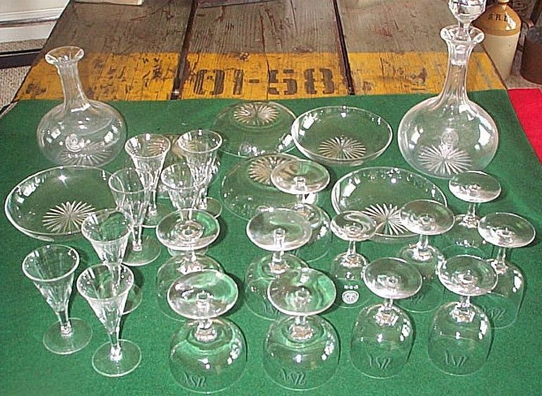 US Navy Antique Crystalware Stemware SpanAm War era 1890's