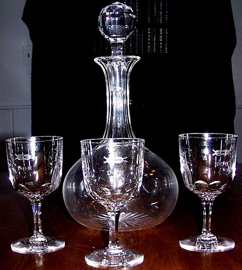 Crystal Decanter and Wine Glasses Great White Fleet and WWI Era