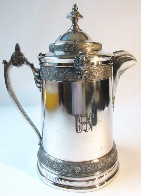 reed and barton silverplated decanter with beautiful stylized USN topmark