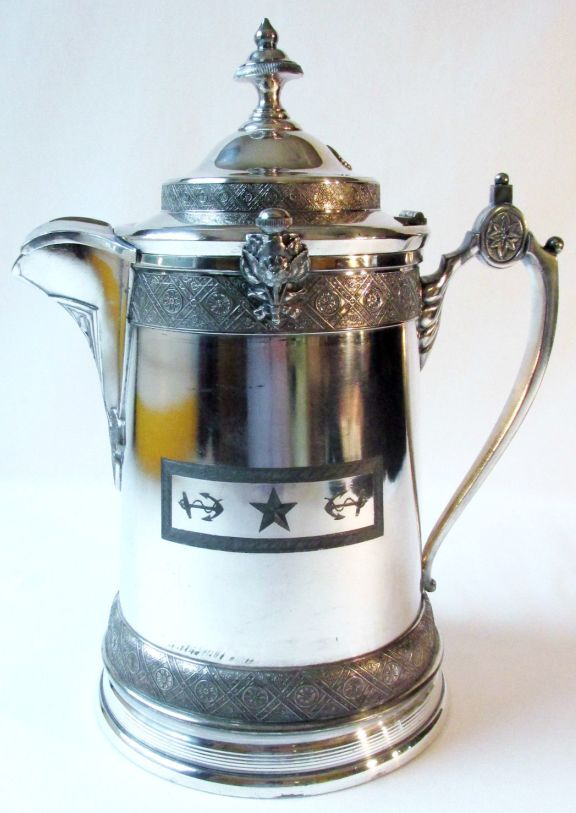 Antique 19th Century US Navy Officers Ice Water Decanter Silverplate Removable Ceramic Liner, side view