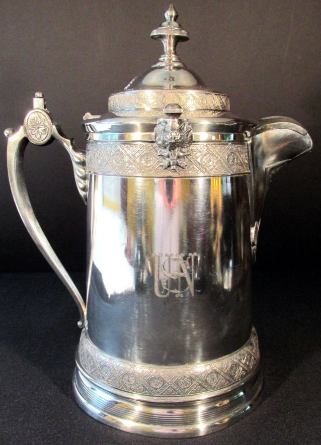 Antique 19th Century US Navy Officers Ice Water Decanter Silverplate Removable Ceramic Liner, rarest of the rare