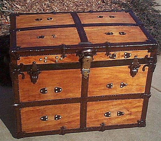 Antique Large Flat Top Steamer Trunk #212