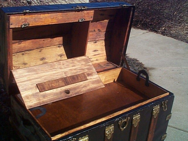 Antique Dome Top Steamer Trunk #214