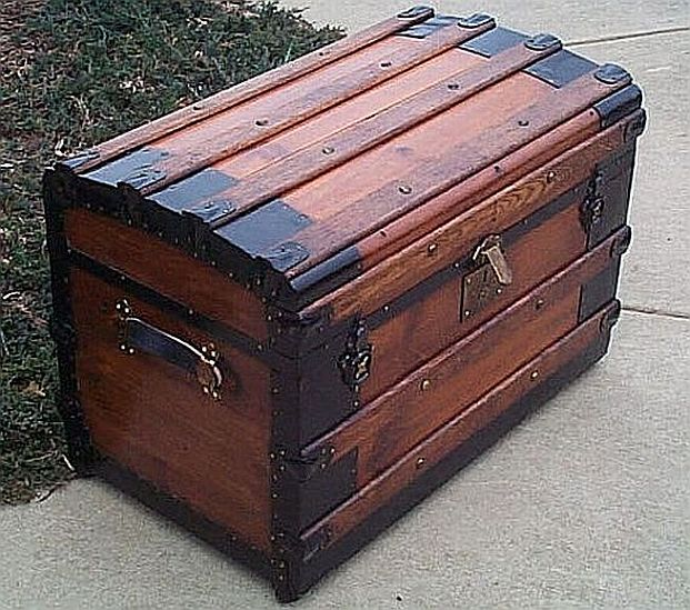 Antique Roll Top Trunk #221