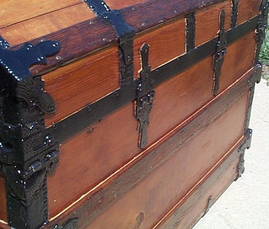 Antique wood chest hardware
