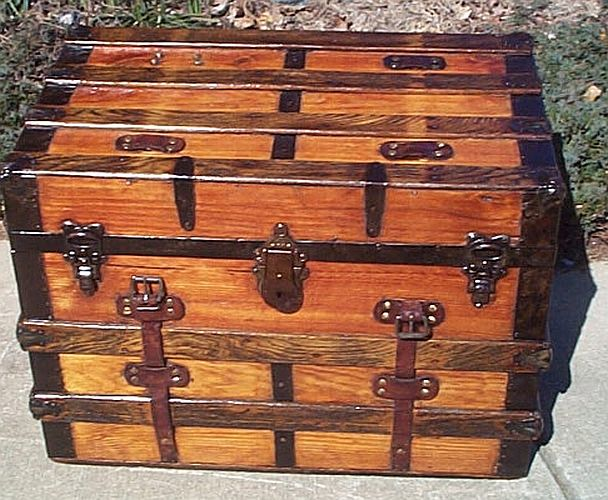 Antique flat top refurbished trunk #271
