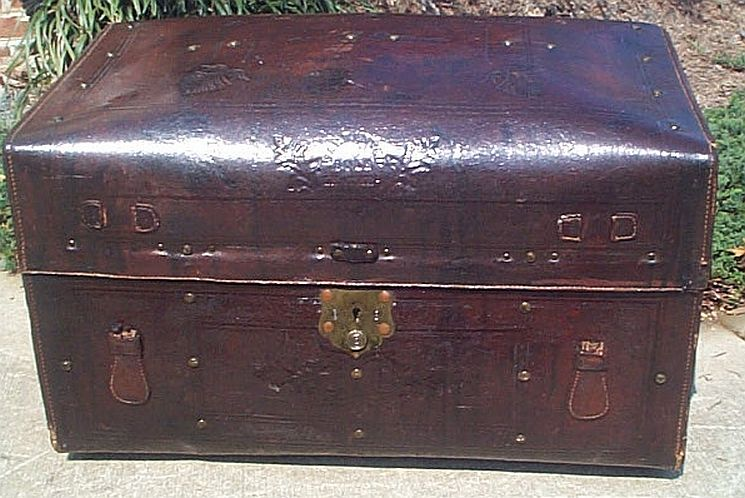 Antique dome top refurbished trunk #272