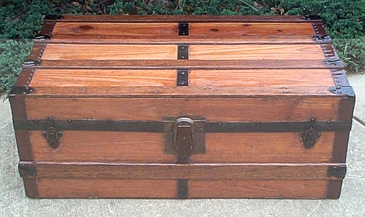 Antique dome top refurbished trunks foot locker