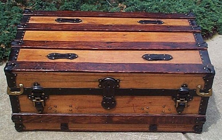 Antique Steamer Trunk Low Profile Flat Top #196
