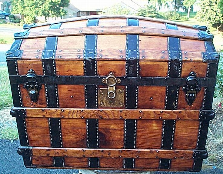 Antique Trunk All Wood Dome Top #279