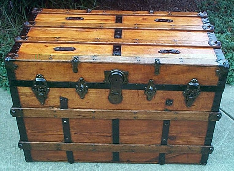 Antique Trunk All Wood Dome Top #280