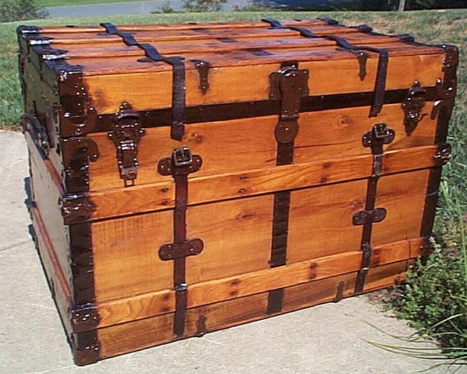Antique Trunk All Wood Dome Top #282