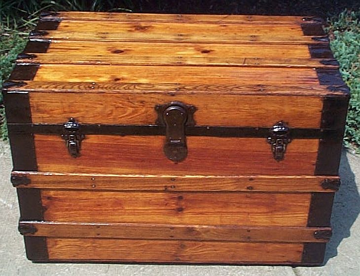 Antique Trunk All Wood Dome Top #283