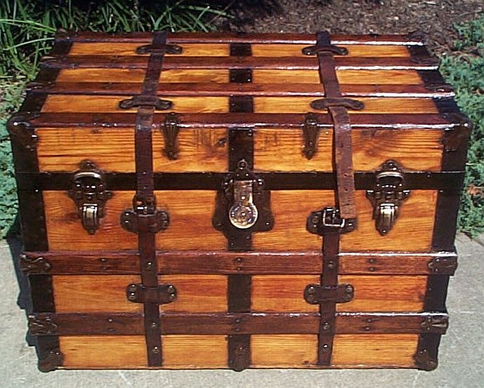 Antique Trunk All Wood Dome Top #284