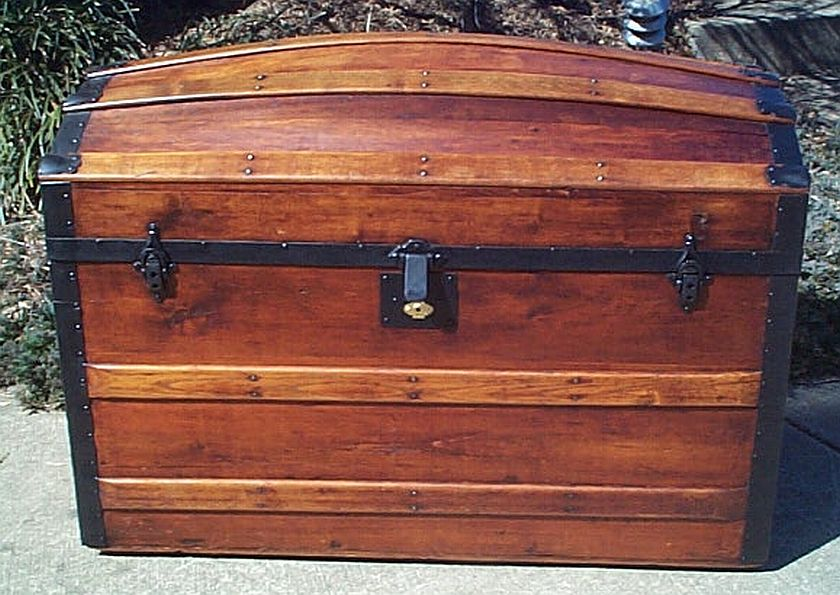 all wood dome top antique steamer trunk #301