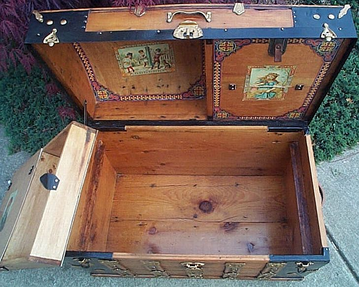 303 Fully Restored All Wood Dome Top Antique Trunks Top