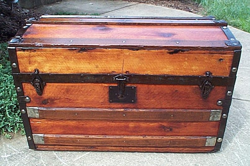 restored antique trunk for sale in dome top similar to a sea chest or treasure chest 329
