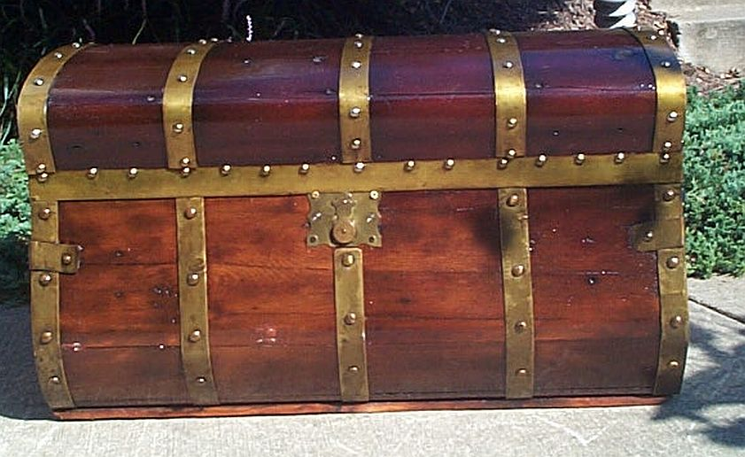 restored antique trunks for sale in dome top similar to a sea chest 331