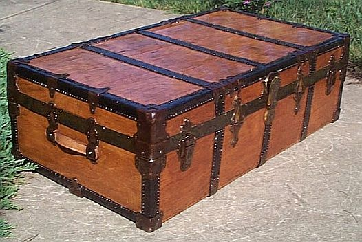 Low Profile Antique Steamer Trunk #338