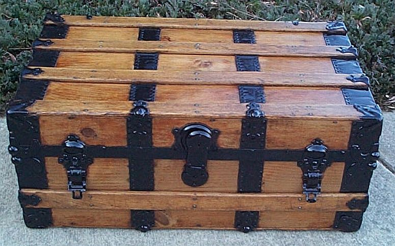 Restored Antique Steamer Trunks For Sale Low Profile Style 339