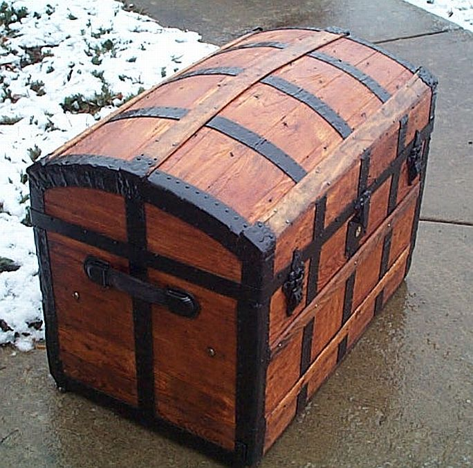 Side - All Wood Dometop Fully Restored Antique Trunk For Sale #341