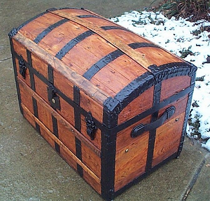 Side View - All Wood Dometop Fully Restored Antique Trunk For Sale #341