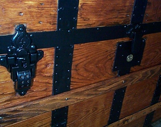 Latches - All Wood Dometop Fully Restored Antique Trunk For Sale #341