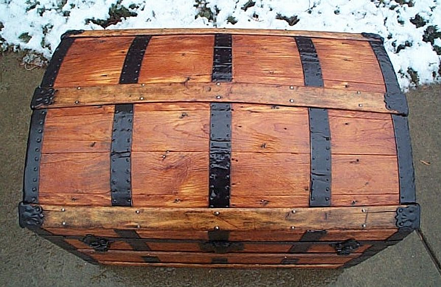 Top - All Wood Dometop Fully Restored Antique Trunk For Sale #341