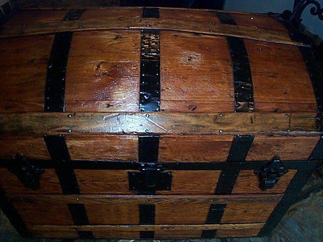 Wood Closeup - All Wood Dometop Fully Restored Antique Trunk For Sale #341