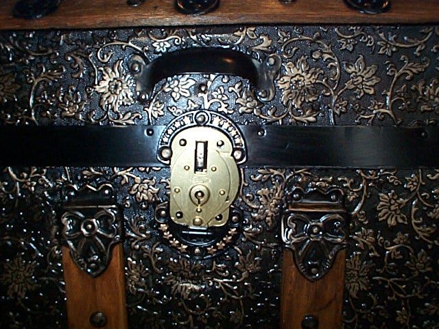 Brass Lock Closed - All Metal Black and Gold Pressed Tin Filigree Design Dometop Fully Restored Antique Trunk For Sale #342