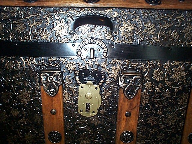 Brass Lock Open - All Metal Black and Gold Pressed Tin Filigree Design Dometop Fully Restored Antique Trunk For Sale #342
