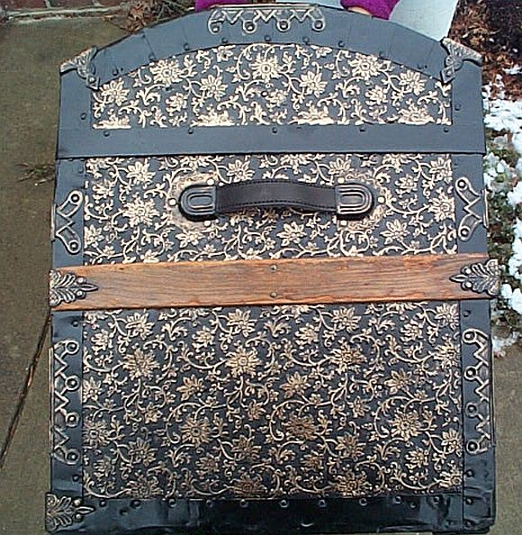 Closeup Sideview - All Metal Black and Gold Pressed Tin Filigree Design Dometop Fully Restored Antique Trunk For Sale #342