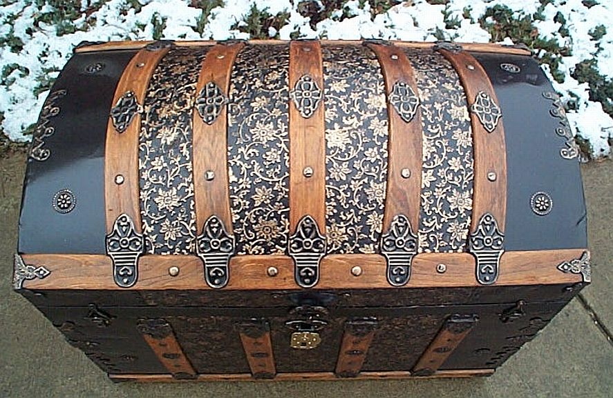 Top - All Metal Black and Gold Pressed Tin Filigree Design Dometop Fully Restored Antique Trunk For Sale #342