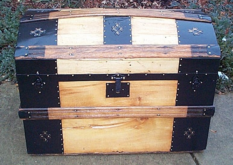 All Wood Medium Size Dometop or Dome Top Antique Trunk with Victorian Lithographs #344