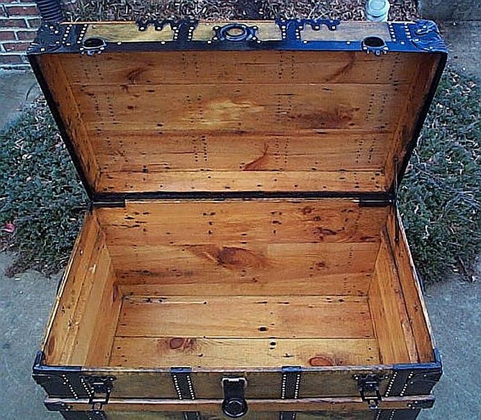 Inside - All Wood Large Size Flat Top Antique Steamer Trunk  #346
