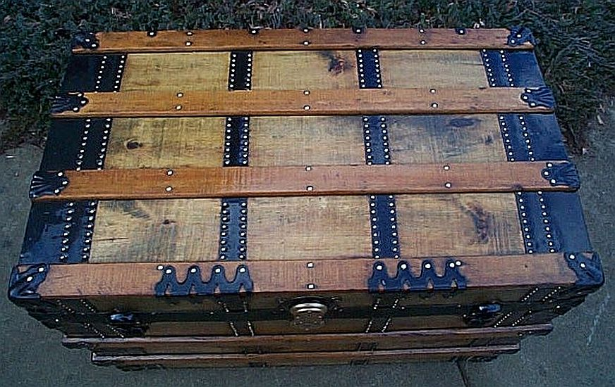Top - All Wood Large Size Flat Top Antique Steamer Trunk  #346